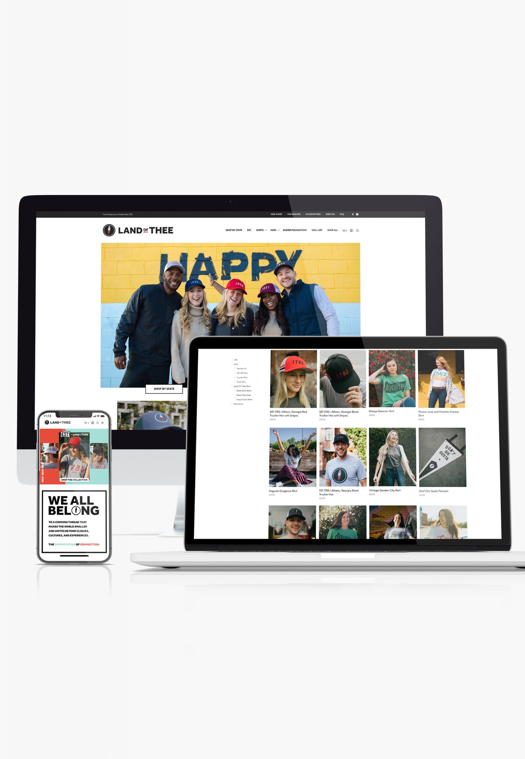 Land of Thee website design shown across multiple websites