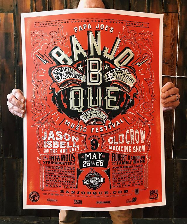 Man holding Red BanjoBque Poster