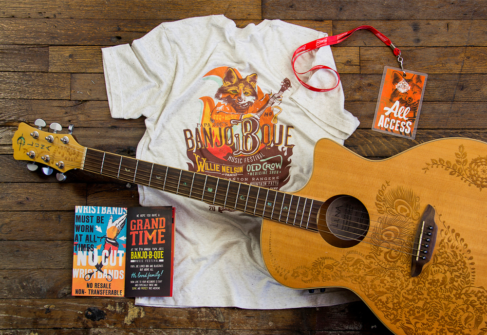 BanjoBque Merchandise Display with Guitar